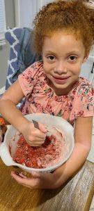 Girl mixing ingredients