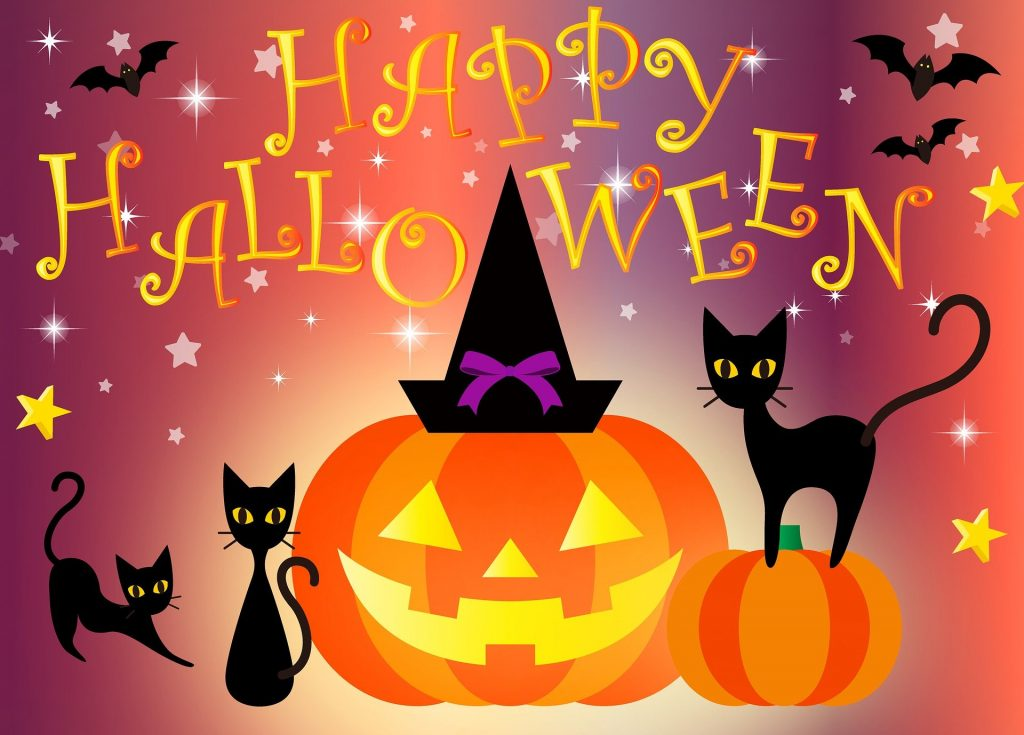 clip art jack-o-lantern and two black cats