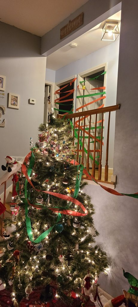 Christmas tree wrapped with crepe paper