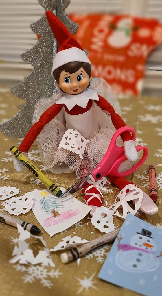 Elf on the Shelf cutting out paper
