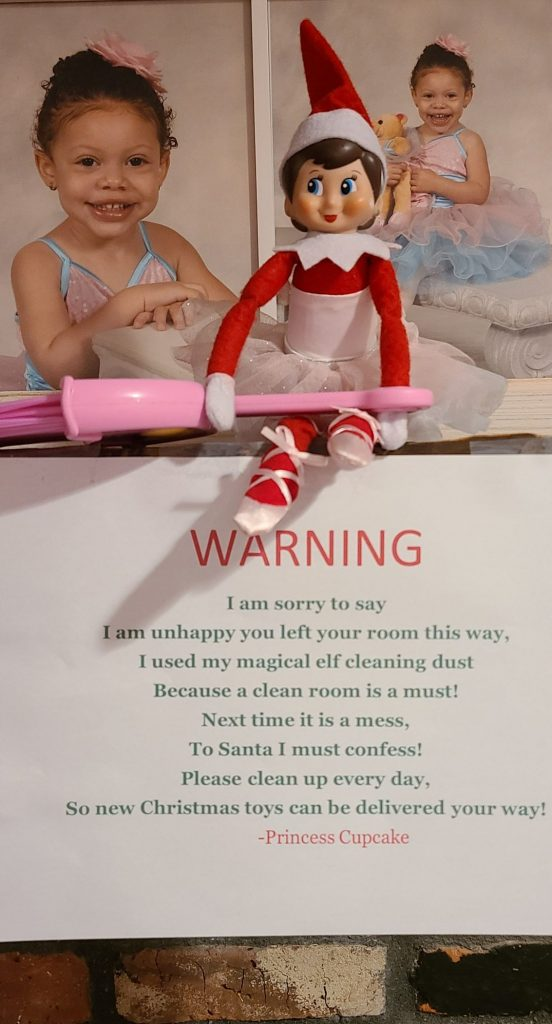 elf on the shelf with a warning letter