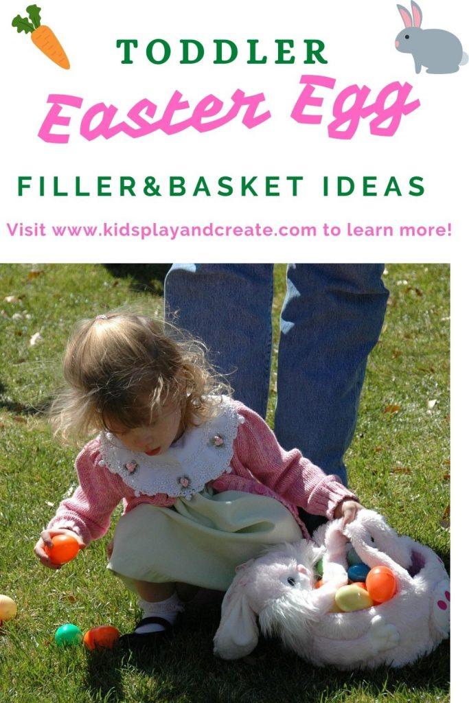 Toddler picking up Easter Eggs