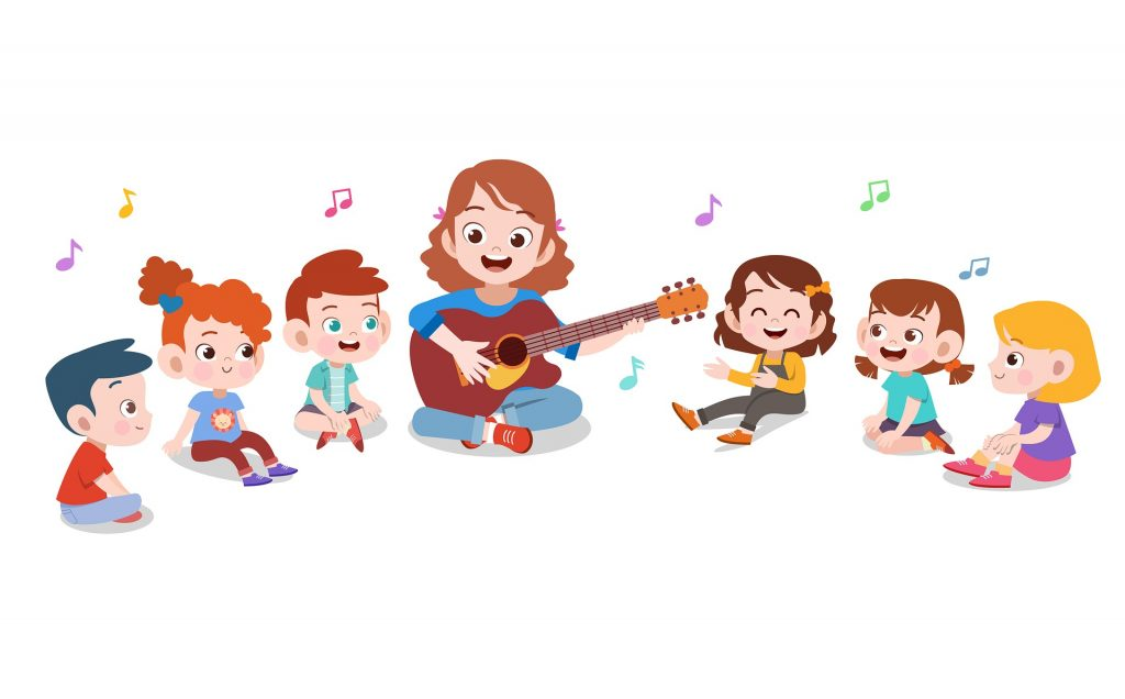 teacher singing to kids